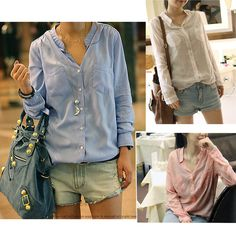 -Women-Ladies-Loose-Casual-Long-Sleeved-Shirt-Tops-Blouse-Button-Down ...