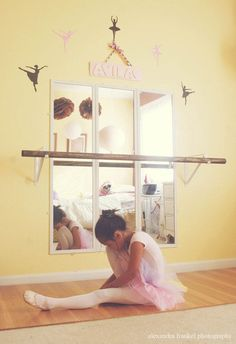 Ballerina Wall Decals - via Etsy. But what I REALLY love in this photo is the DIY ballet barre.