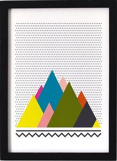 Et dans la Série d'Affiches inspirée par la Nature d'Olwein voilà l'Affiche Montagnes...Des Montagnes... Oui ! Mais revu par Olwein de façon très Graphique et très Colorée !Pour une petite Déco murale Joyeuse et pleine de Fraîcheur !