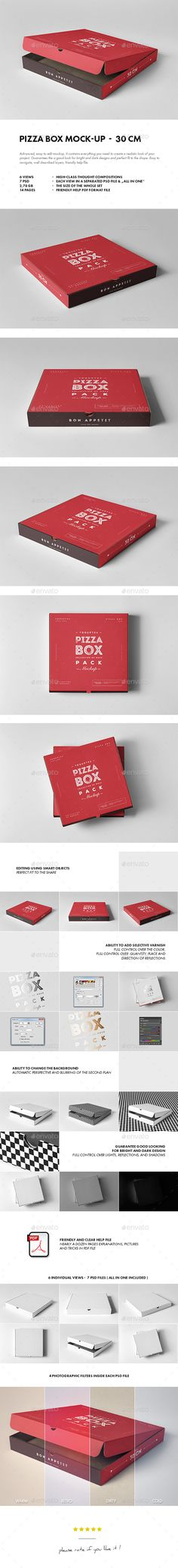 30 Pizza Box Mock-up by yogurt86 30 PIZZA BOX MOCK-UP Advanced, easy to edit mockup. It contains everything you need to create a realistic look of your project. G