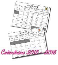 La maternelle de Laurène: Calendriers 2015 - 2016