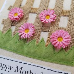 Appliqued pink Butterfly and pink quilled Daisy card with 'Happy Mother's day' Left blank inside for your own message White card measures approx 5 X 7 inches and comes with matching white envelope
