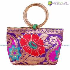 Hand Bag - Bangle Type with Mixed Print Design