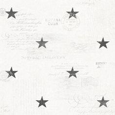 Stjärnor och text i marin stil från kollektionen Hav & Land 49332. Klicka för att se fler härliga tapeter för ditt hem!