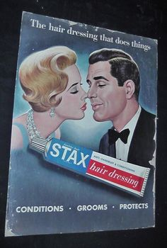 "Vintage Cardboard Original Stax Hair Dressing Barber Shop Display Sign 20"" x 15"" 