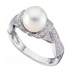 14K WHITE GOLD FRESHWATER CULTURED PEARL & DIAMOND RING