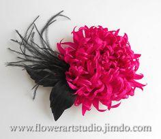 Pink fabric flower brooch, Magenta silk flower, Purple bridal brooch, Radiant orchid flower for sash, mother of a bride brooch.
