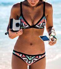 2016 Projeto Quente Retro Estilo Simples Modelo Brasileira Sexy Maiô Impressão Biquínis Halter Acolchoado Biquinis Feminino Swimwear 10 alishoppbrasil