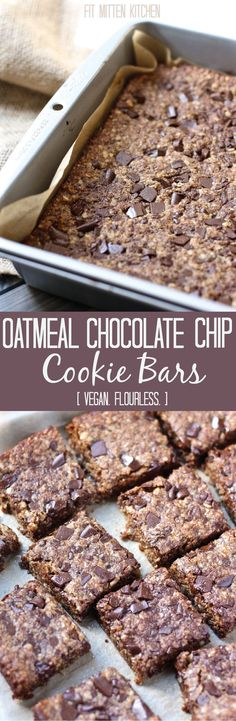 Vegan Oatmeal Chocolate Chip Cookie Bars. Made with quick-oats, almond meal, coconut oil, coconut sugar, and brown rice syrup for a tasty, vegan treat. Plus gluten-free friendly if you use GF oats! #cleaneating #vegan #cookies #chocolatechip