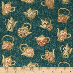 Tea House Tea Time Teal from @fabricdotcom  Designed by Dover Hill for Benartex Fabrics, this cotton print  is perfect for quilting and craft projects as well as apparel and home décor accents. Colors include coral, teal, brown and ivory on a teal background.