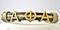 Fraternity Leather Bracelet Alpha Phi Alpha by AdornmentsBySaundra