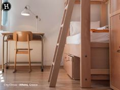 A spacious, bright dormitory for 8 guests with a comfortable bed layout for more privacy. Dormitory, Retro Furniture, Neoclassical, Wooden Flooring, Hostel, Bunk Beds, Layout, Athens Greece, Room