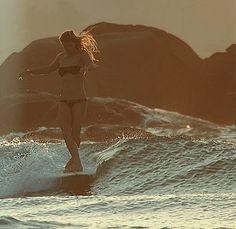 Longboard at sunset