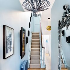 Hallway | Be inspired by a stylish Victorian home in west London | Victorian house | House Tour | PHOTO GALLERY | Livingetc | Housetohome. (Pendant lights, arrangement of wall hangings)