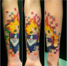 Ig name:wickedgoodinc Lisa Frank! Kawaii Tattoos, Girly Tattoos, Disney Tattoos, Tatoos, Brain Tattoo, Cat Tattoo, Tattoo Art, Body Art Tattoos, Bright Tattoos