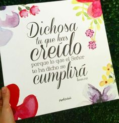 Lucas Habla Hoy (DHH) 45 ¡Dichosa tú por haber creído que han de cumplirse las cosas que el Señor te ha dicho! Luke International Version (NIV) 45 Blessed is she who has believed that the Lord would fulfill his promises to her! Quotes About God, Love Quotes, Jesus Loves Me, Messages, Mo S, Gods Promises, Jesus Saves, Bible Verses Quotes, God Is Good