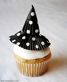 {super easy DIY} Cupcake Liner Witch Hats  | by Carrie Sellman  |  TheCakeBlog.com