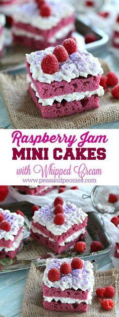 Pink Individual Raspberry Jam Cakes are topped with sweet raspberry jam, vanilla bean whipped cream, fresh raspberries and purple sugar.