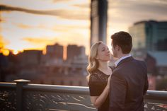 Engagement Session Riverfront Pedestrian Bridge at Sunset in Nashville Tennessee #Engaged #engagement #session #sunset #pedestrian #bridge #nashville #photos #photo