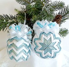 Quilted Ornament Set - Ice Blue and White Snowflakes (Ready To Ship SALE - Last Set). $45.00, via Etsy.