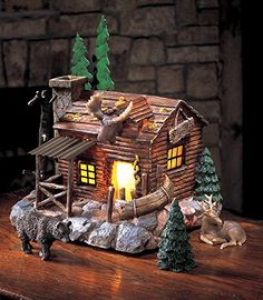 Natures Lighted Lodge Collectible Tabletop Set *** Check out the image by visiting the link.