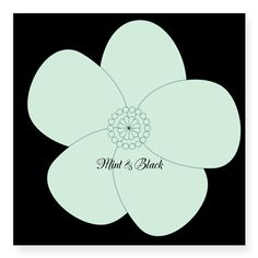 Mint Black Retro Flower Sticker, editable text, water resistant, for personalized gifts, home decor.