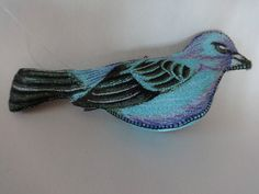 """Vintage Hand-Made Silk Embroidered Blue Bird  Ornament One-of-a-Kind  4.5"""""""