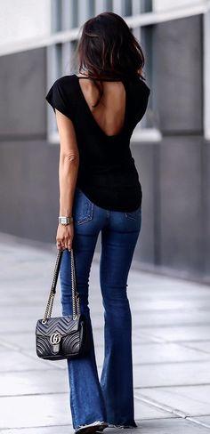 Black Open #Back #top #denimjeans And #handbags #summeroutfit #womenfashion2018 #summer #summer2018