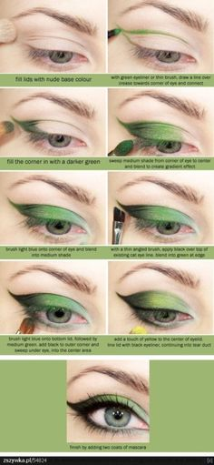 Soooo not in green, but this is a good step by step for cat eye makeup.
