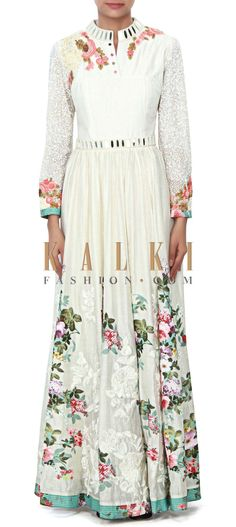 Buy Online from the link below. We ship worldwide (Free Shipping over US$100) Price- $609 Click Anywhere to Tag http://www.kalkifashion.com/white-dress-embellished-in-applique-and-mirror-embroidery-only-on-kalki.html