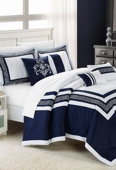 Blue Venice Embroidered Comforter Set