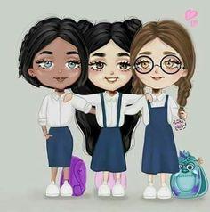 girly_m friends in school Best Friends Cartoon, Friend Cartoon, Cute Friends, Cartoon Images Of Friends, Best Friend Drawings, Girly Drawings, Sisters Drawing, Girly M, Tumbrl Girls