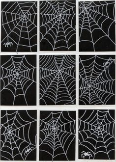 Art Projects for Kids: Spiderweb Art Trading Cards. White poster marker on black scrapbook paper. Halloween Art Projects, Halloween Drawings, Projects For Kids, Drawing Lessons For Kids, Art Lessons, Spider Web Drawing, Diy Halloween Dekoration, Black Paper Drawing, Art Trading Cards