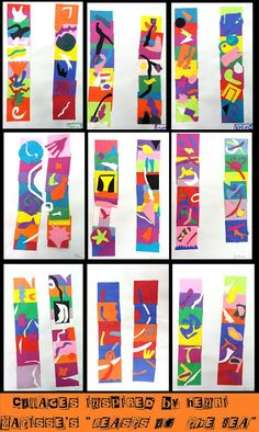 "A: Abstract Art and Henri Matisse. grade collages based on Matisse' ""beasts of the sea"" Henri Matisse, Matisse Kunst, Matisse Art, Matisse Cutouts, Henri Rousseau, Kindergarten Art, Preschool Art, Art 2nd Grade, Fourth Grade"