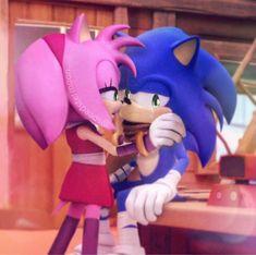 Sonic Y Amy, The Sonic, Sonic Art, Sonic The Hedgehog, Sonamy Comic, Dangerous Love, Cartoon Ships, Sonic Fan Characters, Amy Rose