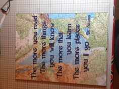 Vinyl cut on glass with map collage beneath. Can be totally personalised in terms of colour, content and style. Just ask Mc2 Crafts on Facebook