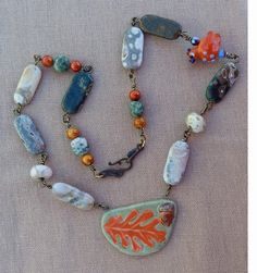 My bead soup piece - designed by Kim Dworak, with beads from Lucy Clasen Jewelry Necklaces, Beaded Necklace, Beaded Bracelets, Turquoise Bracelet, Jewelry Design, Soup, Beads, Party, Blog