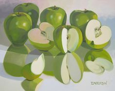 We're also featuring new originals by still life artist Leigh-Anne Eagerton this month. Apple Painting, Fruit Painting, Gouache Painting, Oil Painting On Canvas, Advanced Higher Art, Illustrations, Illustration Art, Still Life Artists, Apple Art