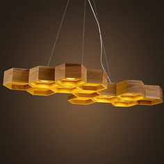 Designer Art Individuality Chandelier Restaurant Bar Simple Honeycomb Wood Lamps 2016 - $324.99