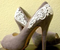 Something fun to do with thrift store shoes and gaudy bridal applique.   #diy #diy fashion #craft #refashion