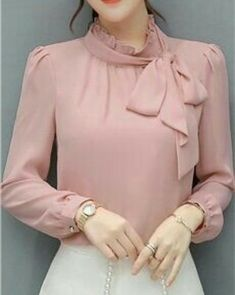 Elegant temperament lady round neck flare sleeve openwork mesh ladies blouse - Stand Color Bowknot Bowtie Sash Ornament Solid Color Long Sleeve Women& Blouse Best Picture F - Long Blouse Outfit, Bluse Outfit, Girls Fashion Clothes, Fashion Dresses, Sleeves Designs For Dresses, Stylish Dresses For Girls, Fashion Sewing, Blouse Designs, Blouses For Women