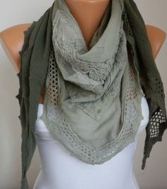 Lace Scarf   scarf shawl     Free scarf  fatwoman by anils on Etsy, $23.00