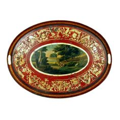 A Regency Painted & Parcel Gilt Oval Tole Tray Small Tray, Large Tray, English Country Style, Painted Trays, Decoupage Ideas, Metal Trays, Tole Painting, Paper Mache, Chinoiserie