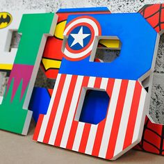 Calling all little Superheroes! Spell out your little one's name on their bedroom or nursery wall in our custom made large wooden letters in a cool superheroes theme. Cut from mdf in your name or word of choice Choose from sizes 25 or 30 cm tall Large Wooden Letters, Painting Wooden Letters, Painted Letters, Superhero Letters, Creative Lettering, Decorative Lettering, Letter Wall Decor, Boys Bedroom Decor, Bedroom Ideas