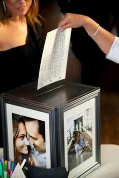 """Card box or For a creative guest book alternative, ask your guests to fill out cards with fun prompts (e. """"What should we name our first child?"""") and store them in a keepsake box! Wedding Tips, Trendy Wedding, Perfect Wedding, Wedding Decor, Wedding Styles, Wedding Ceremony, Wedding Planning, Dream Wedding, Wedding Day"""