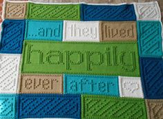 """Its a fairy tale come true. A wonderful original design, the blanket when finished reads, """". . . and they lived happily ever after."""" The entire blanket requires only three crochet stitches - chain stitch, single crochet and the popcorn stitch. The pattern includes the written"""
