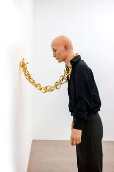 Benjamin Lignel  Installation: Priape 2013  Tin, copper, silver, gold, steel, made-up mannequin  Edition of 3  photo: F.Kleinefenn Courtesy Next Level Galerie
