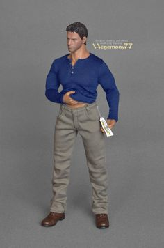 1:6th scale XXL color jeans pants / trousers  Size: Hot Toys Truetype TTM 20 and similar extra large advanced muscular collectible action figures and male dolls  with 4 pockets, belt loops and front velcro closure