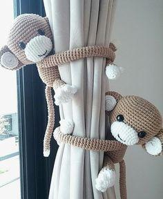 Monkey curtain tie back, cotton yarn crochet monkey, amigurumi. Monkey curtain tie back cotton yarn crochet monkey by thujashop Crochet With Cotton Yarn, Crochet Yarn, Crochet Toys, Crochet Amigurumi, Crochet Animals, Free Crochet, Baby Boy Rooms, Baby Boy Nurseries, Unisex Baby Room