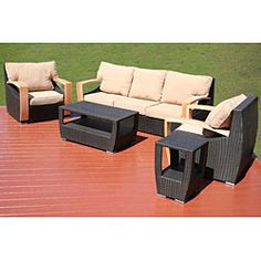 @Overstock - Smooth lines and contemporary styling highlight this outdoor wicker patio furniture set. This outdoor furniture features all-weather construction and plush cushions.http://www.overstock.com/Home-Garden/Barcelona-5-piece-All-weather-Wicker-Patio-Furniture-Set/4860170/product.html?CID=214117 $2,274.99